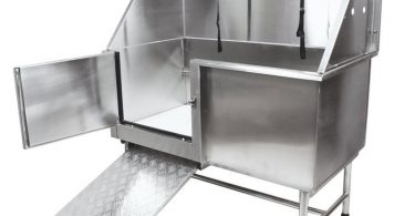Flying Pig dog wash station is made of stainless steel materials.