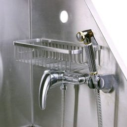 Shower attached to flying pig dog bath tub.