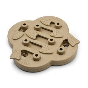 """Famous Nina Ottosson Dog Puzzle Toy has different shapes; this one is """"Hide N' Slide Treat Dispensing Dog Toy"""" in particular"""