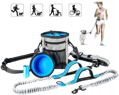 Girl is running with YOUTHINK waste dog leash that comes with a large treat pouch and a portable water bowl.