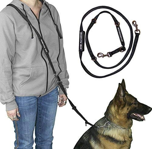 The man with his dog shows how to use Activedogs hands free leash.