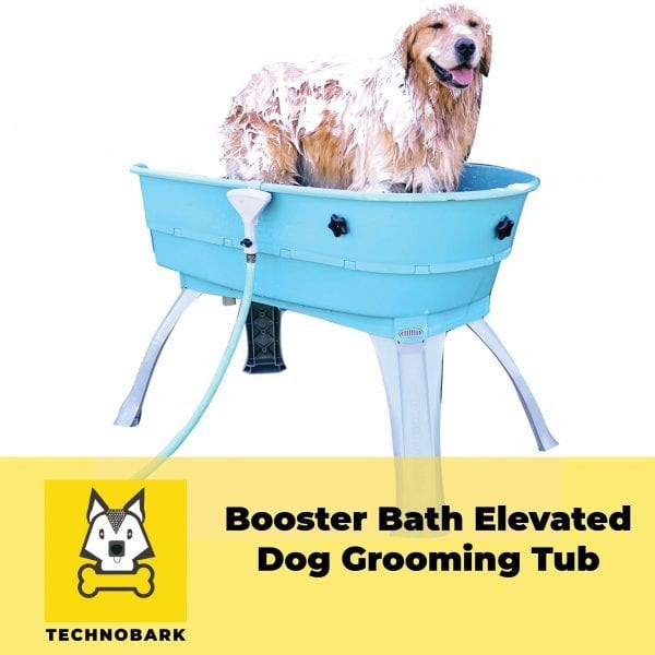 Retriever is enjoying grooming in Booster Bath Elevated Dog Tub