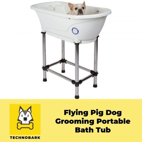 The dog inside the Flying Pig potable tub is ready for grooming.