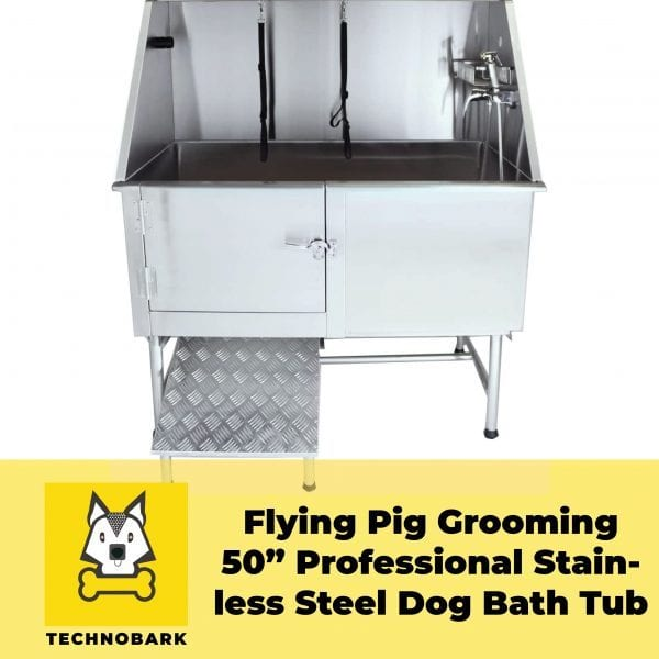 "Flying Pig Grooming 50"" professional stainless steel dog grooming bath tub with faucet, walk-in ramp & other accessories is definitely the best options on the market for dog groomers."