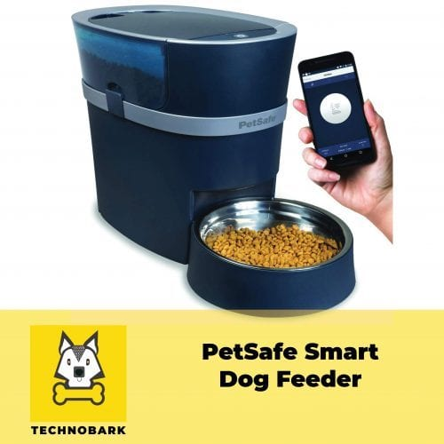 PetSage smart dog feeder with smartphone with the smart feed app.