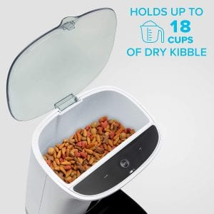 This automatic dog feeder can hold up to 18 cups of dry kibble