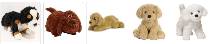 Various stuffed animals for dogs to hump.