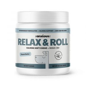 Relax & Roll soft chews for dog with 900mg of CBD.
