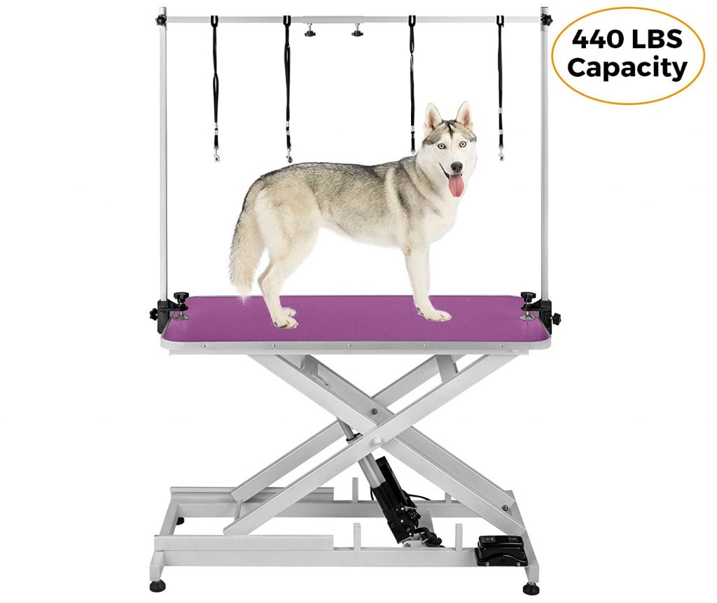 Happybuy Electric Grooming Table with a large heavy-weight dog on it