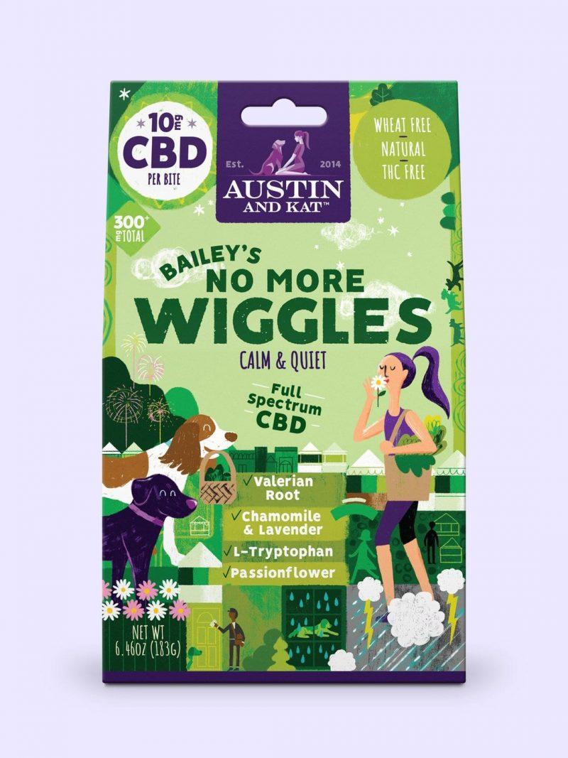 Austin And Kat Bailey's no more wiggles dog treat with full spectrum CBD.