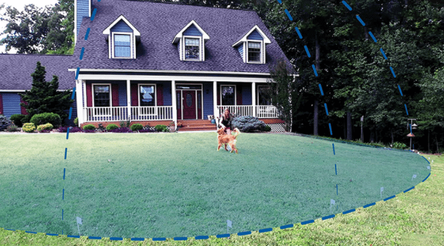 Measuring backyard for installing a invisible dog fence system
