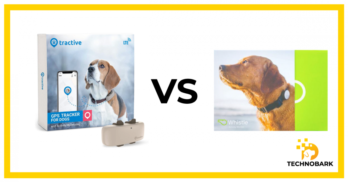 Whistle collar vs Tractive GPS dog tracker side-by-side compariosn.