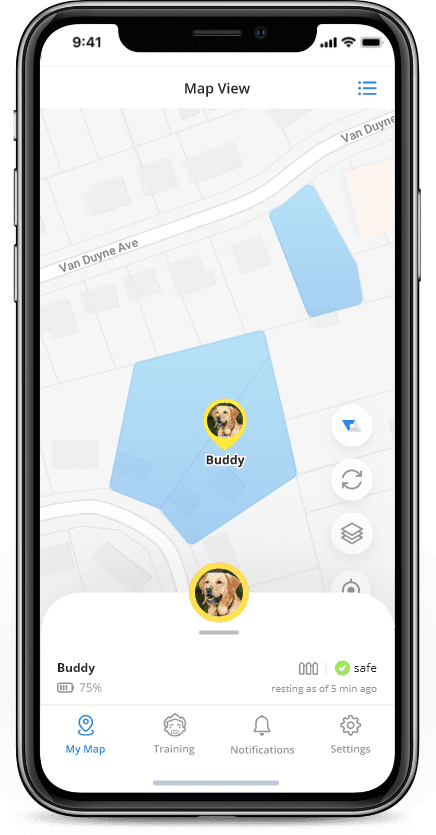 Checking dog's location with Halo dog collar app
